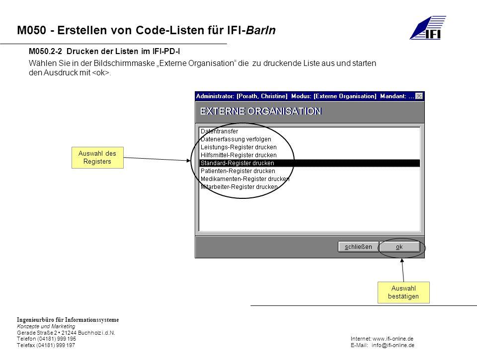 M050.2-2 Drucken der Listen im IFI-PD-I