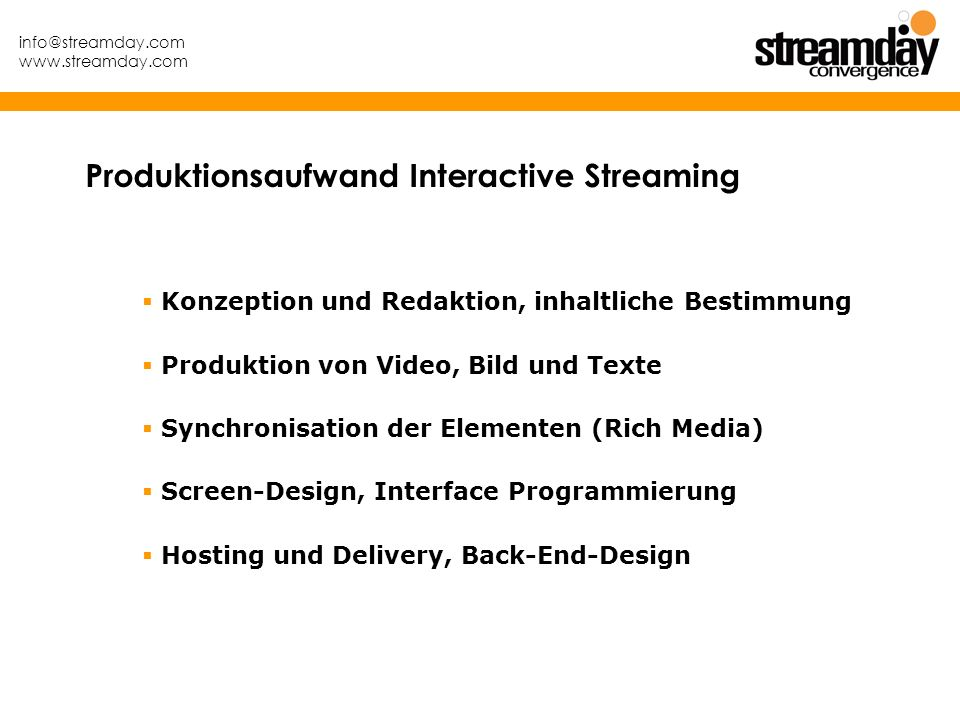 Produktionsaufwand Interactive Streaming