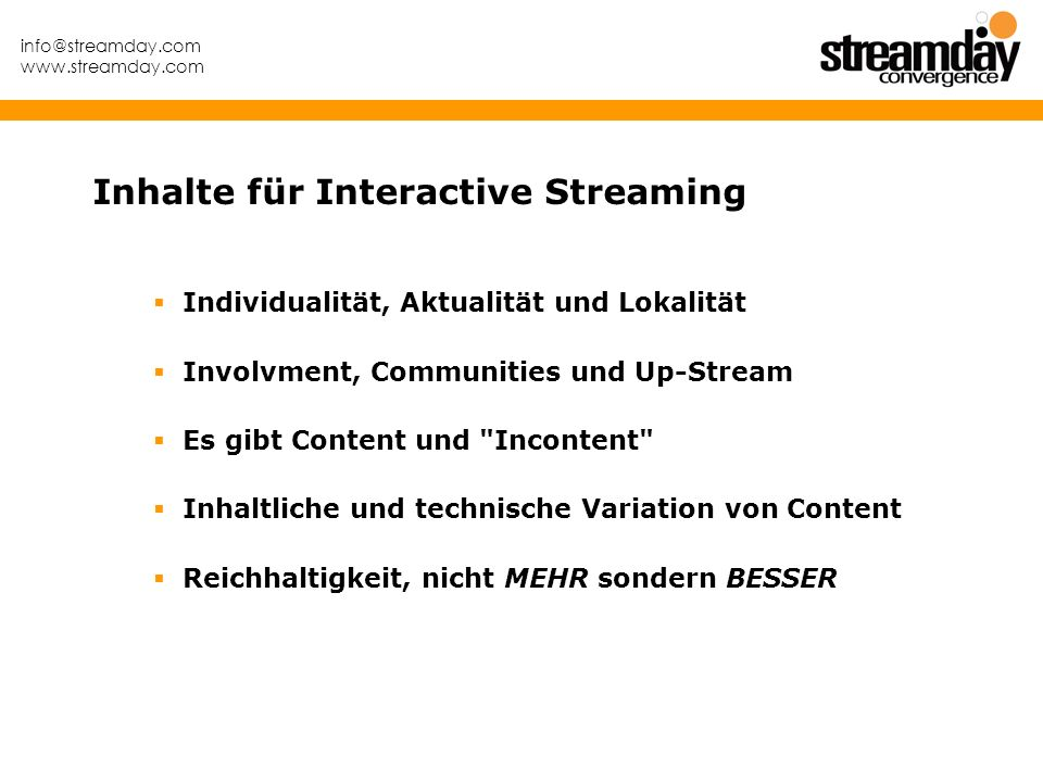 Inhalte für Interactive Streaming