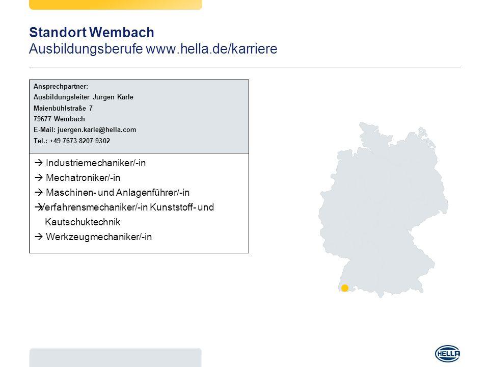 Standort Wembach Ausbildungsberufe www.hella.de/karriere