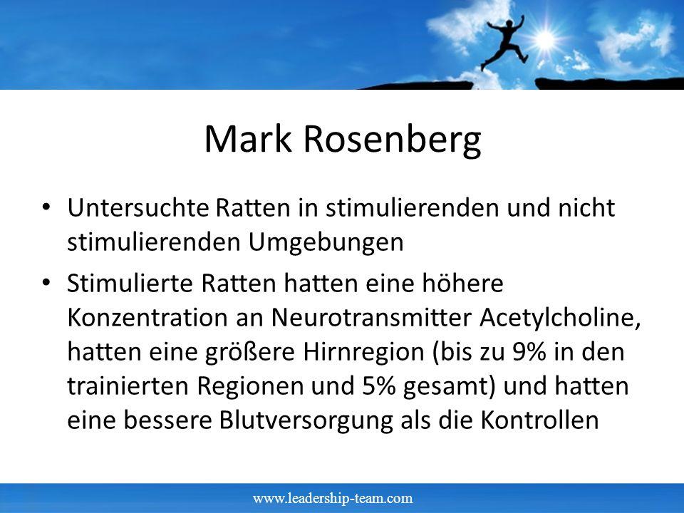 Mark Rosenberg Untersuchte Ratten in stimulierenden und nicht stimulierenden Umgebungen.