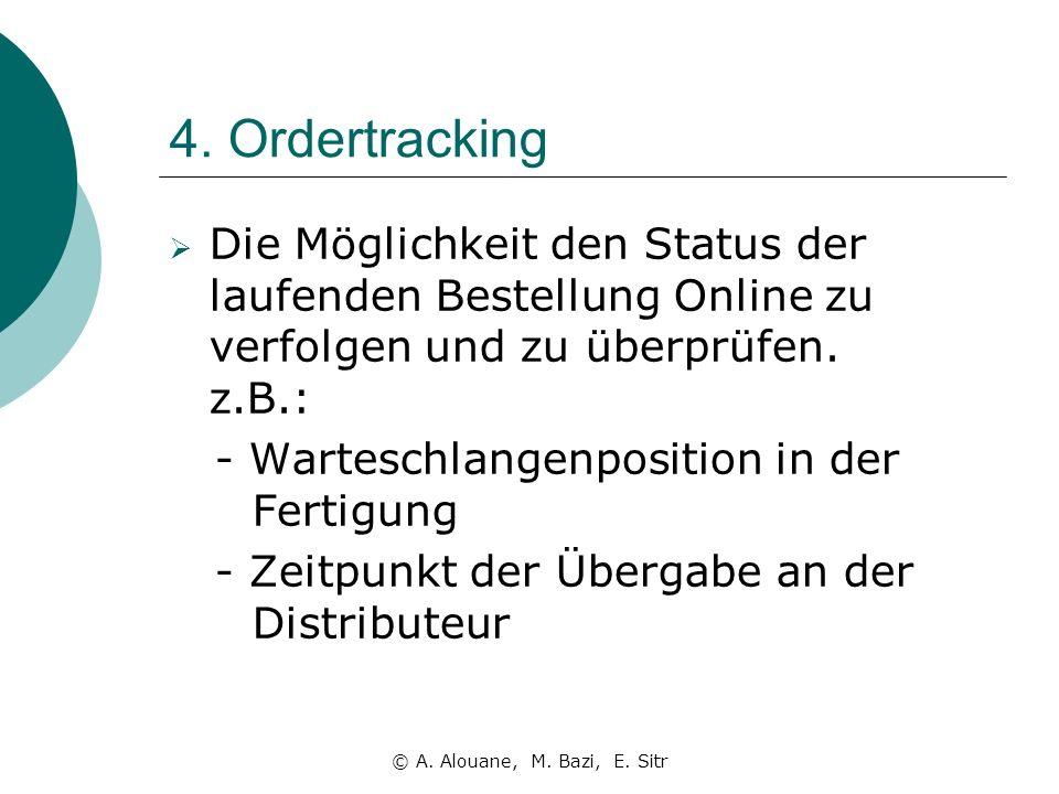 4. Ordertracking Die Möglichkeit den Status der laufenden Bestellung Online zu verfolgen und zu überprüfen. z.B.: