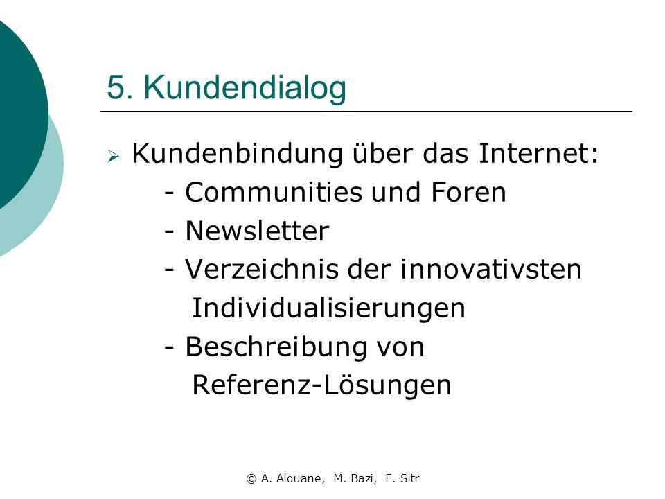 5. Kundendialog Kundenbindung über das Internet: