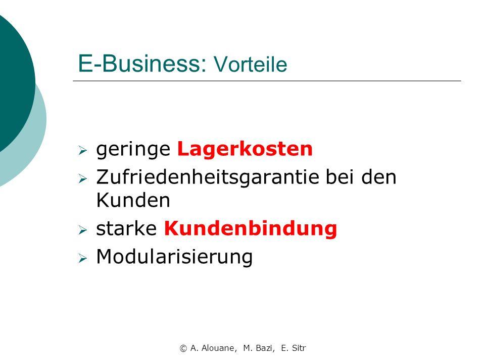 E-Business: Vorteile geringe Lagerkosten