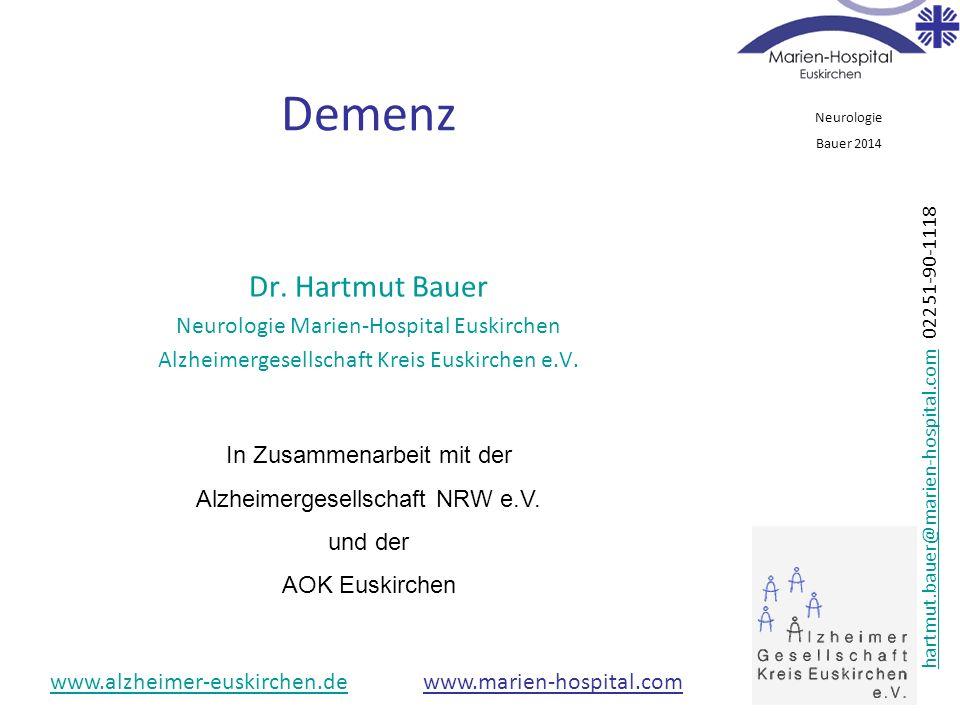 Demenz Dr. Hartmut Bauer Neurologie Marien-Hospital Euskirchen