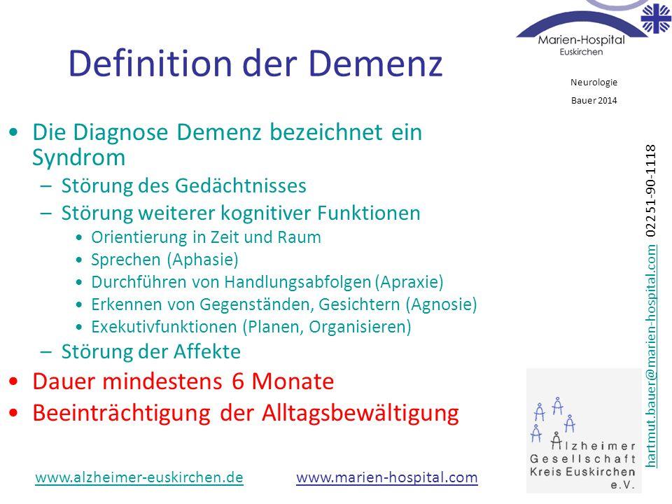 Definition der Demenz Die Diagnose Demenz bezeichnet ein Syndrom
