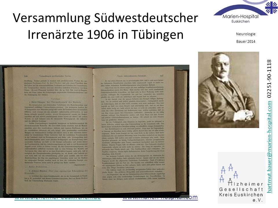 Versammlung Südwestdeutscher Irrenärzte 1906 in Tübingen