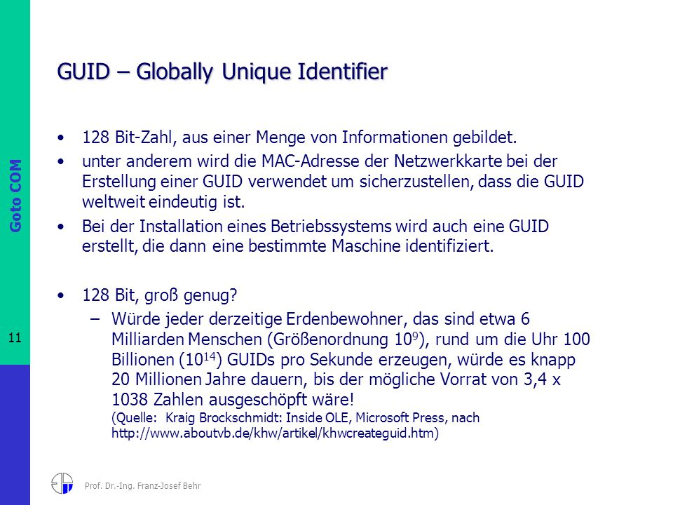 GUID – Globally Unique Identifier