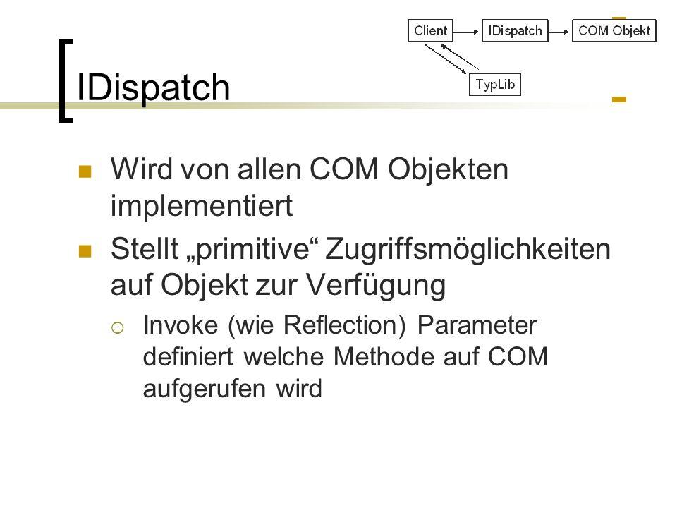 IDispatch Wird von allen COM Objekten implementiert