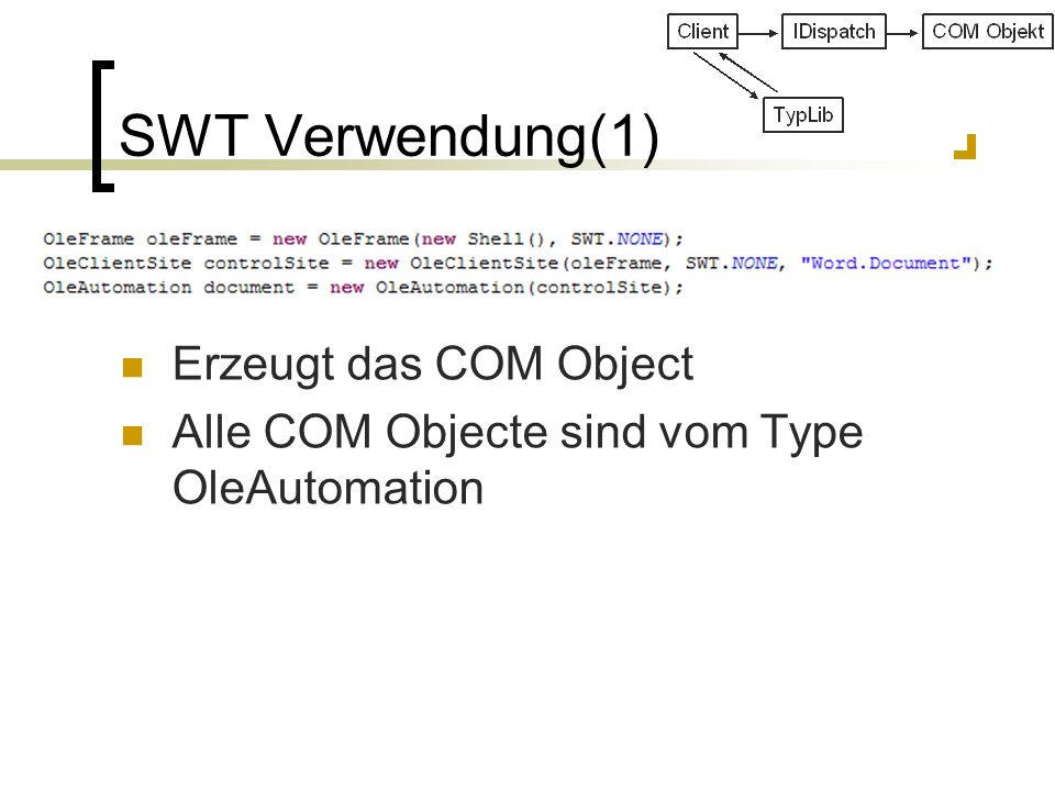 SWT Verwendung(1) Erzeugt das COM Object