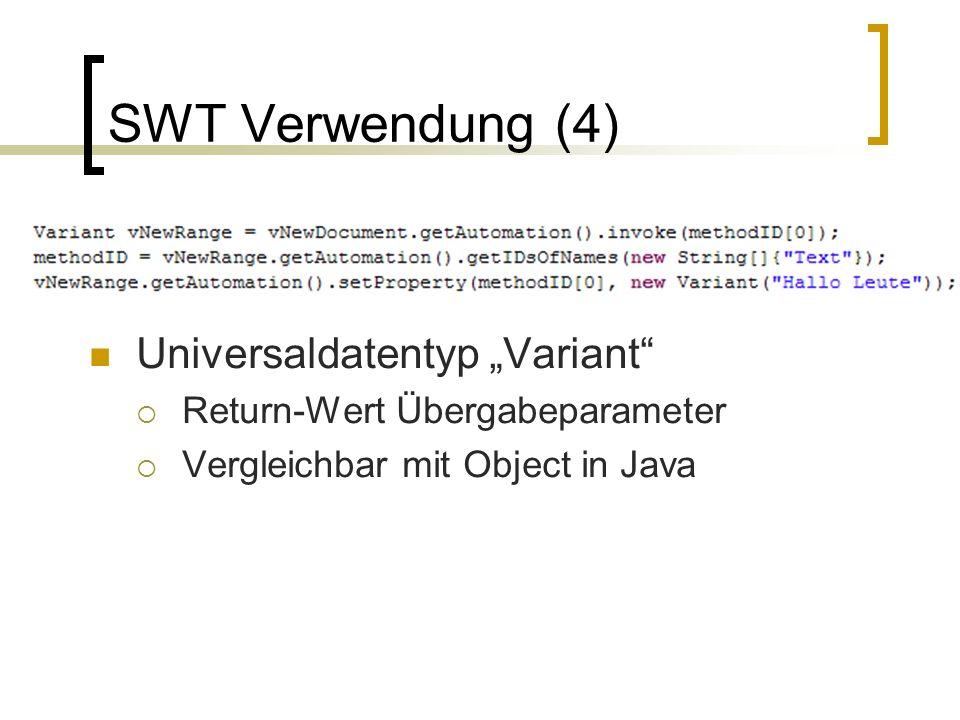 """SWT Verwendung (4) Universaldatentyp """"Variant"""