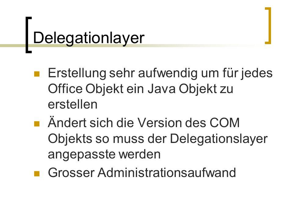Delegationlayer Erstellung sehr aufwendig um für jedes Office Objekt ein Java Objekt zu erstellen.