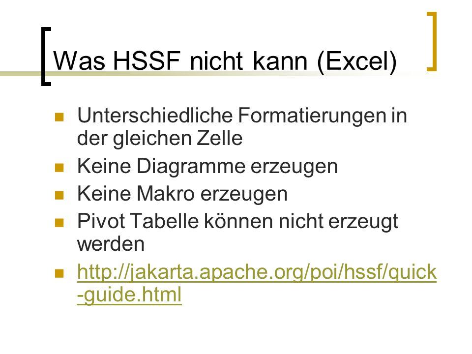 Was HSSF nicht kann (Excel)