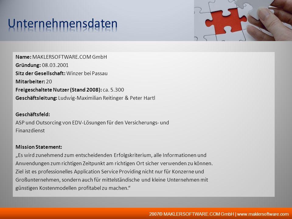 Unternehmensdaten Name: MAKLERSOFTWARE.COM GmbH Gründung: 08.03.2001