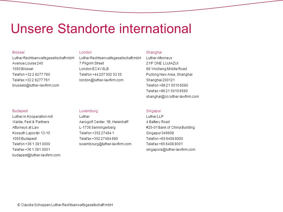 Unsere Standorte international