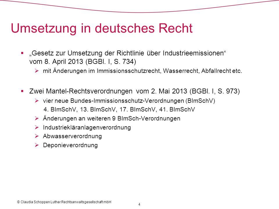 Umsetzung in deutsches Recht