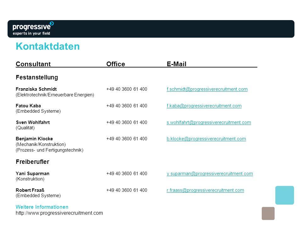 Kontaktdaten Consultant Office E-Mail Festanstellung Freiberufler