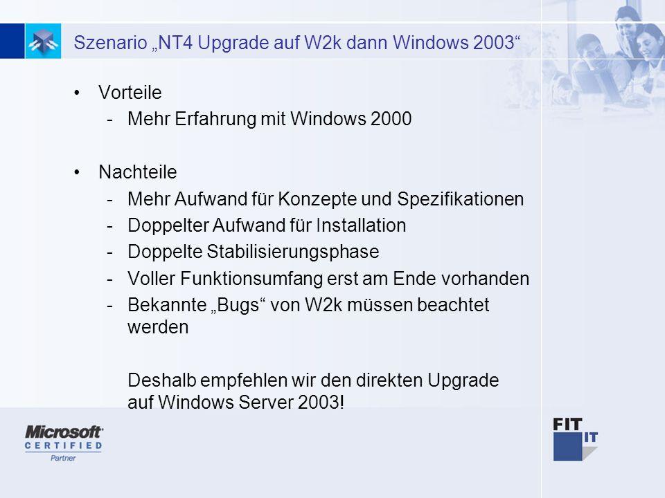 """Szenario """"NT4 Upgrade auf W2k dann Windows 2003"""