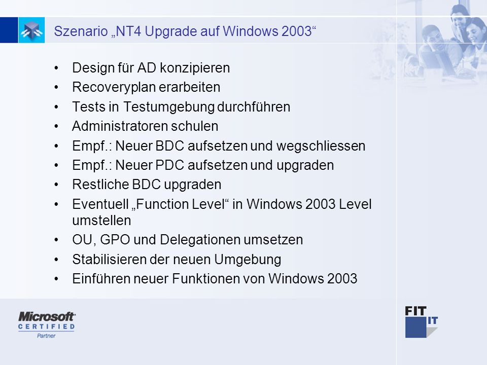 "Szenario ""NT4 Upgrade auf Windows 2003"