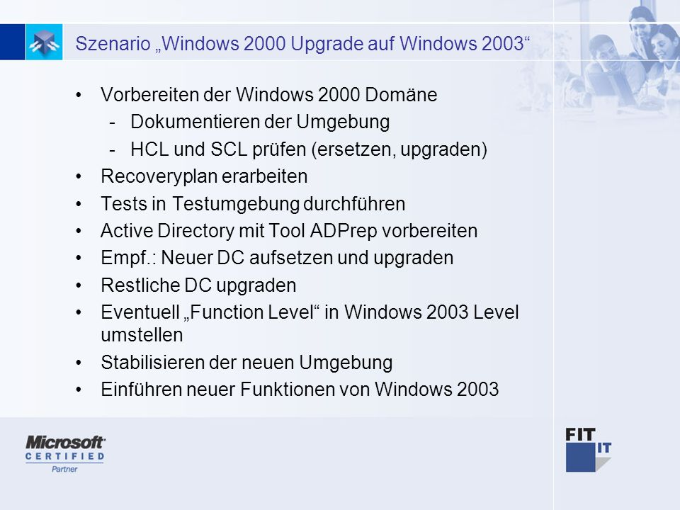 "Szenario ""Windows 2000 Upgrade auf Windows 2003"