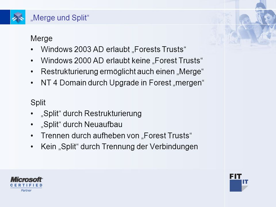 "Windows 2003 AD erlaubt ""Forests Trusts"