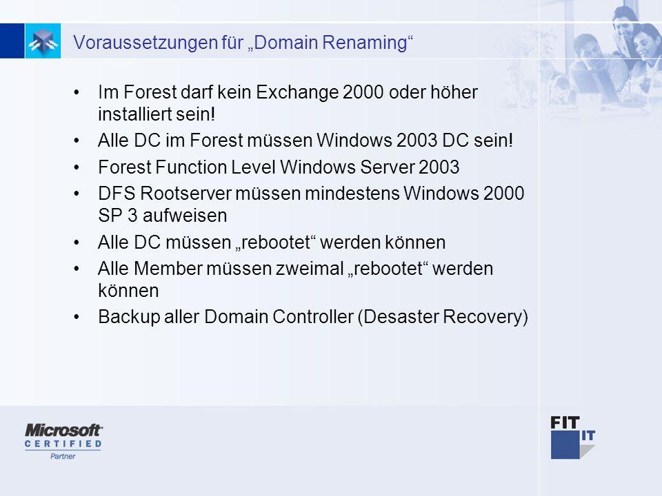 """Voraussetzungen für """"Domain Renaming"""
