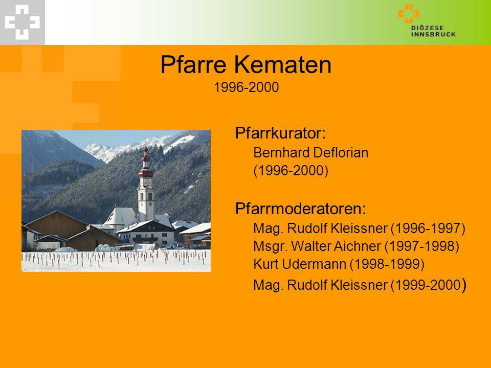 Pfarre Kematen 1996-2000 Pfarrkurator: Pfarrmoderatoren: