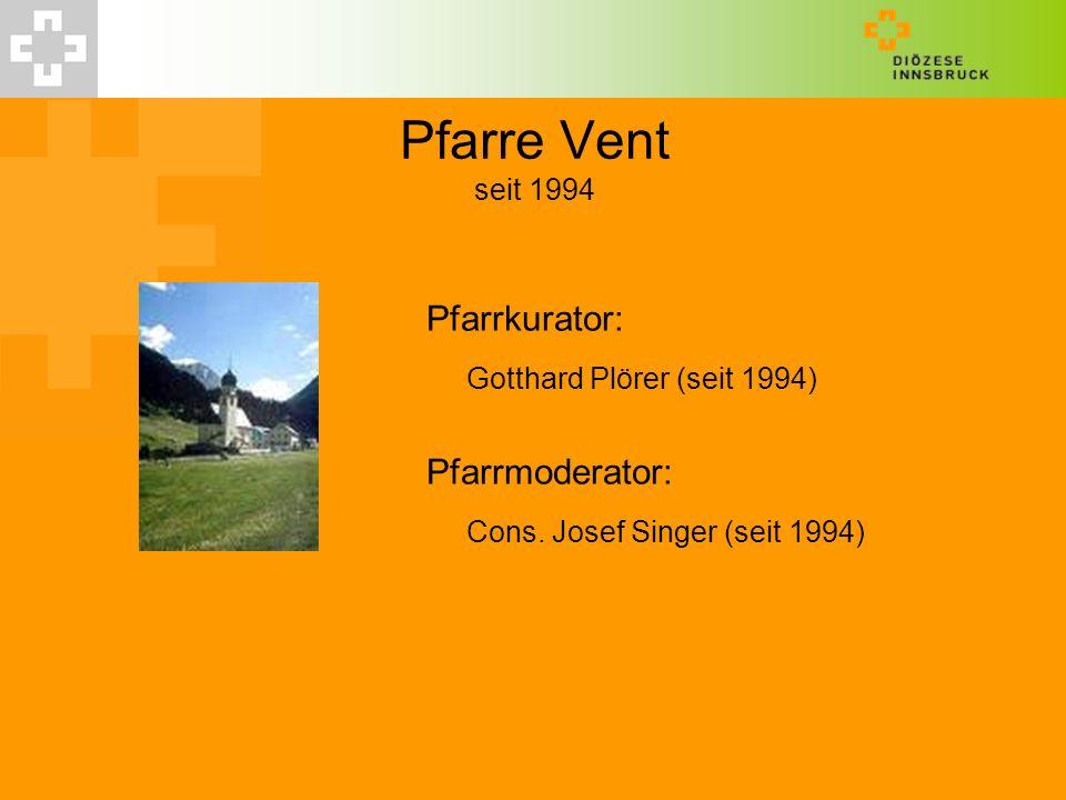 Pfarre Vent seit 1994 Gotthard Plörer (seit 1994)