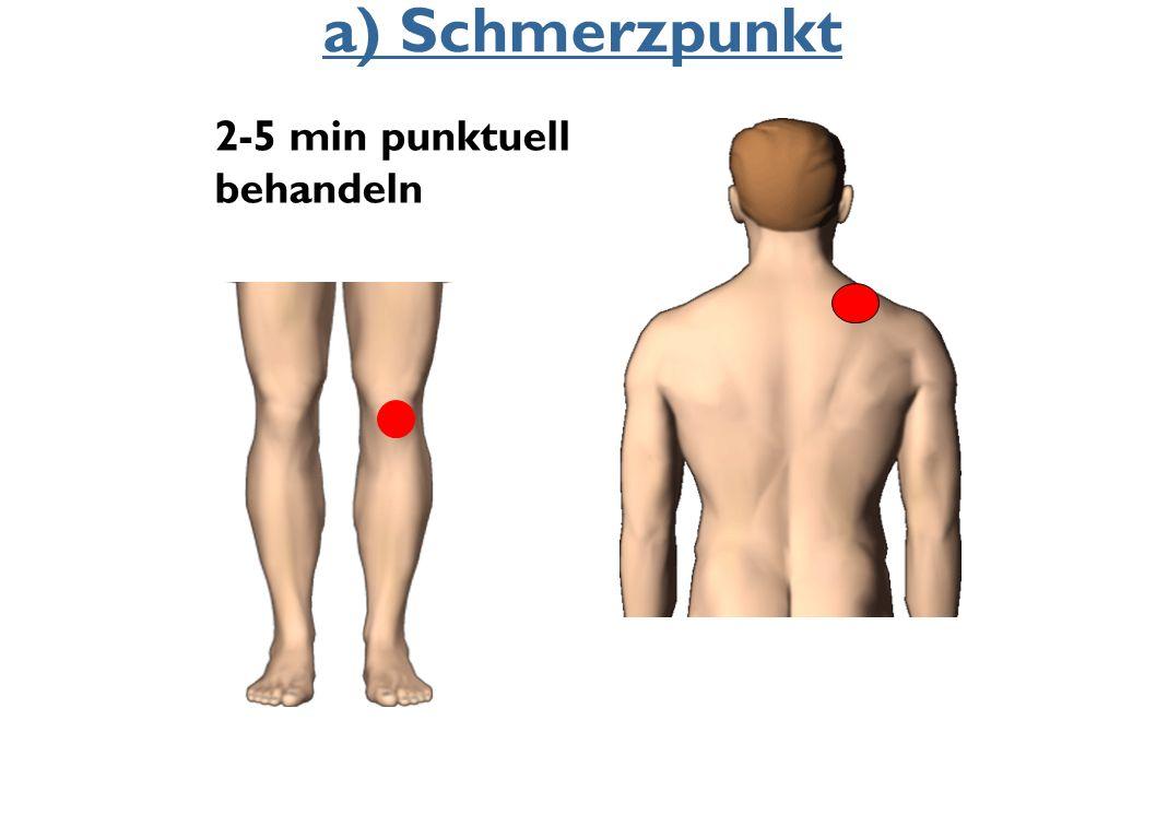 a) Schmerzpunkt 2-5 min punktuell behandeln