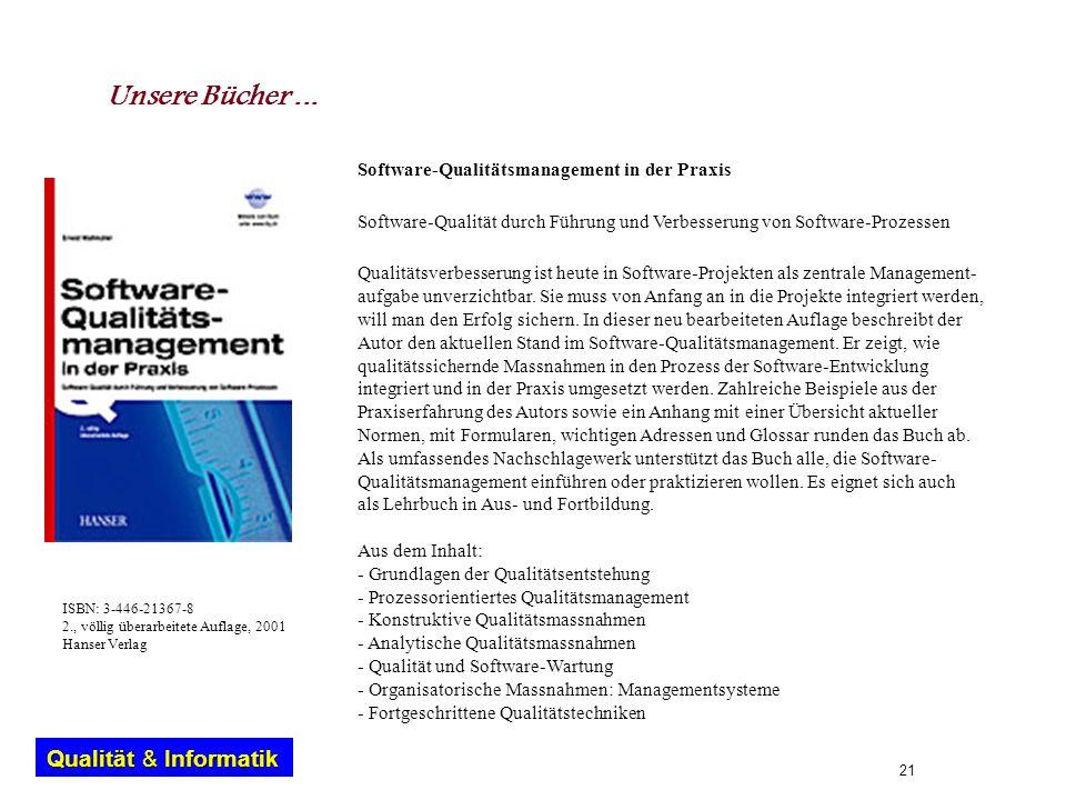 Unsere Bücher ... Software-Qualitätsmanagement in der Praxis
