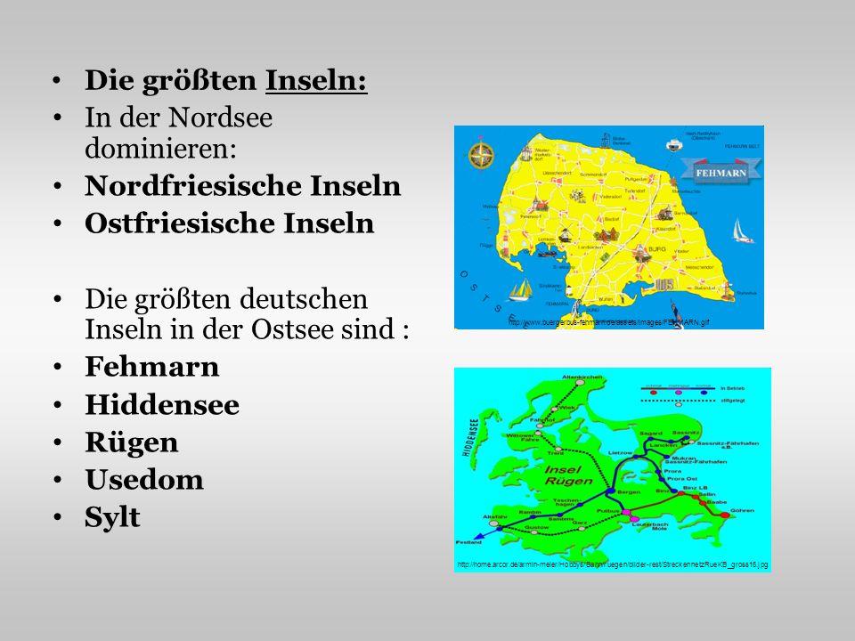 In der Nordsee dominieren: Nordfriesische Inseln Ostfriesische Inseln