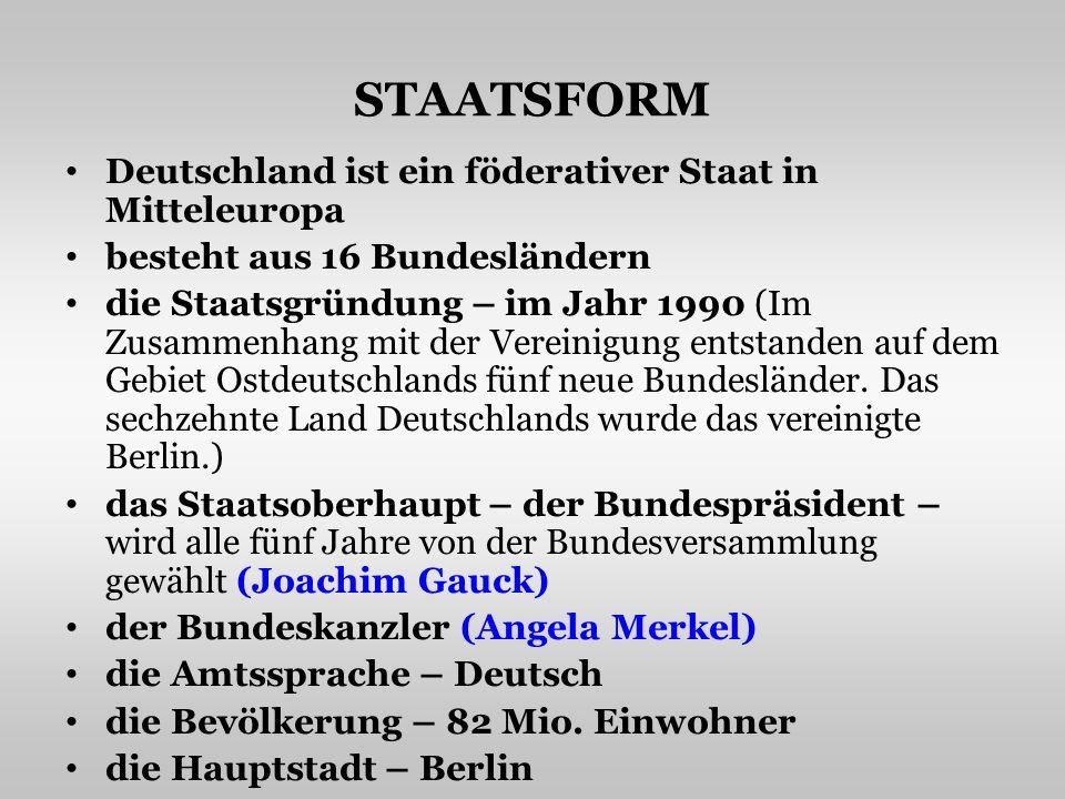 STAATSFORM Deutschland ist ein föderativer Staat in Mitteleuropa