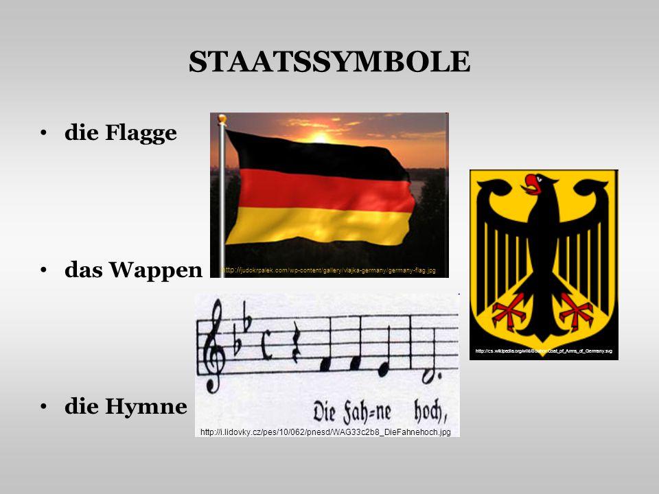 STAATSSYMBOLE die Flagge das Wappen die Hymne