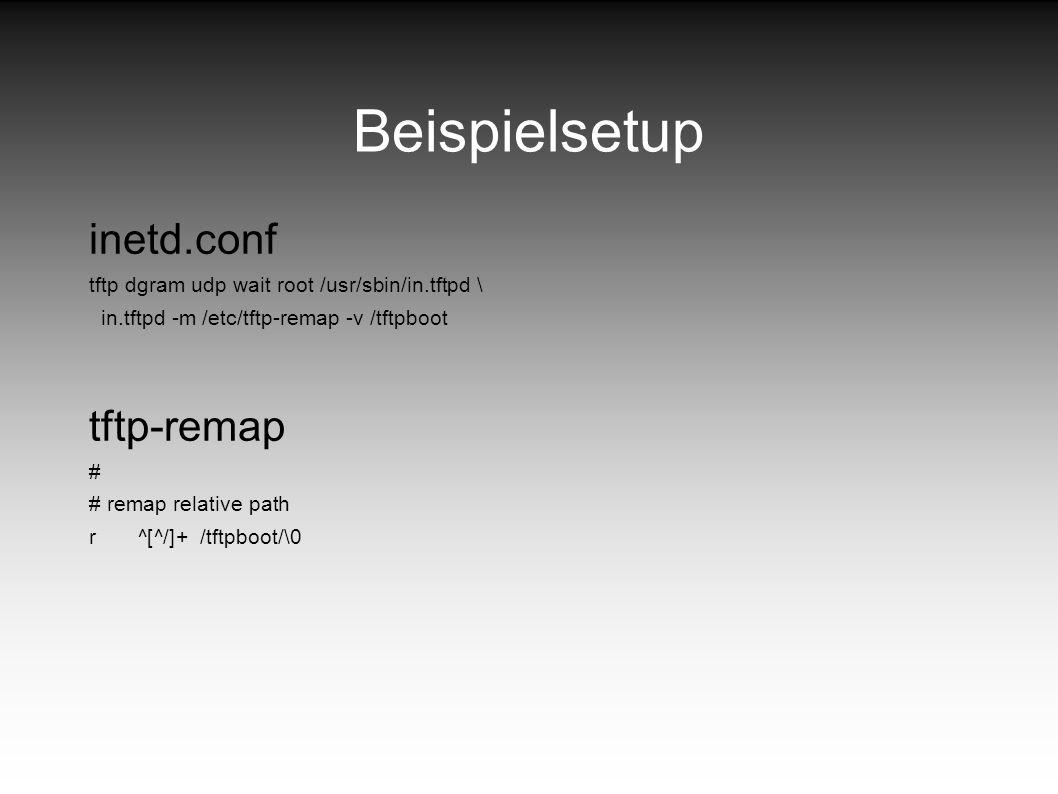 Beispielsetup inetd.conf tftp-remap