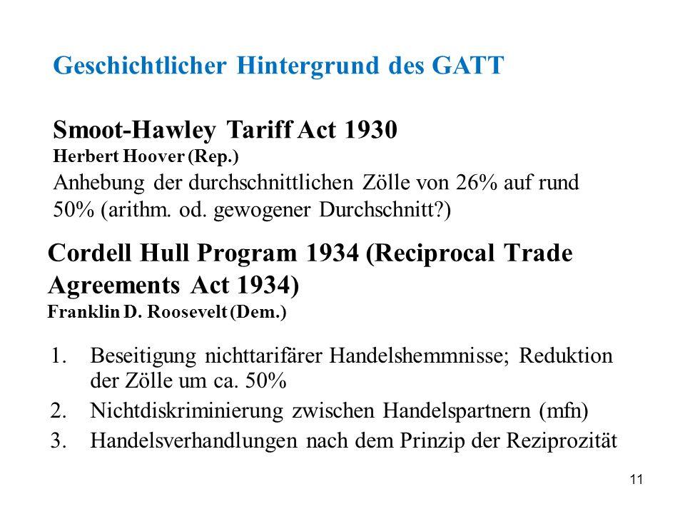 Geschichtlicher Hintergrund des GATT