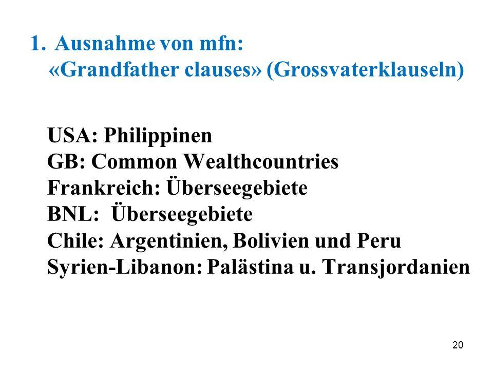 1. Ausnahme von mfn: «Grandfather clauses» (Grossvaterklauseln)