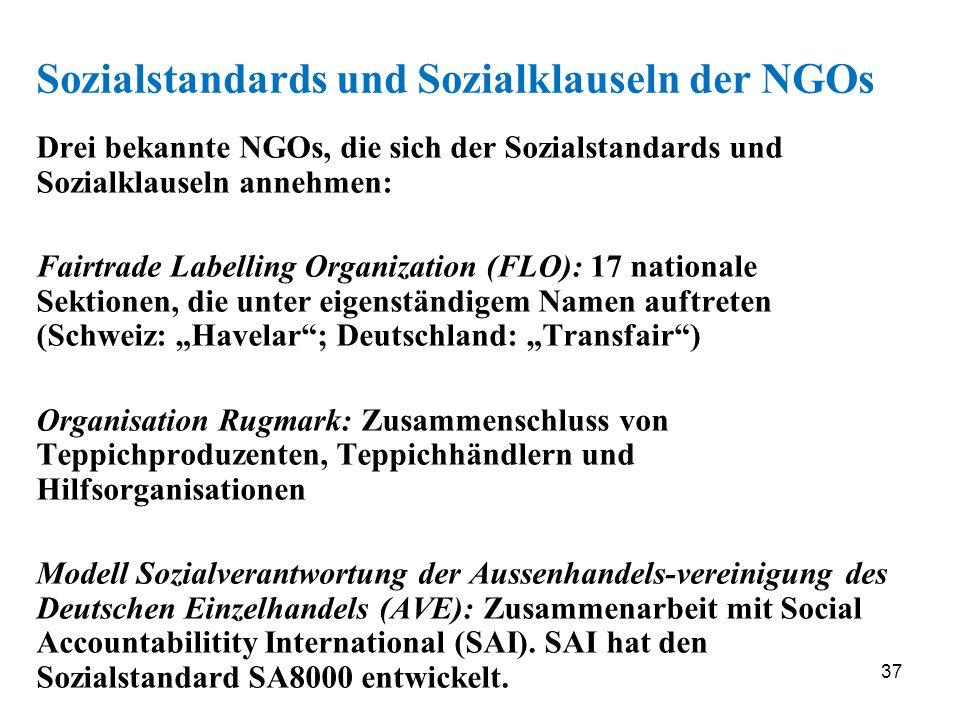 Sozialstandards und Sozialklauseln der NGOs