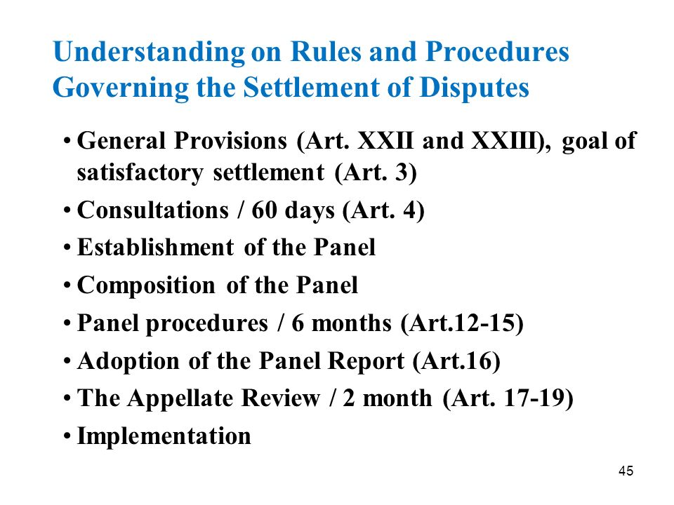 Understanding on Rules and Procedures Governing the Settlement of Disputes