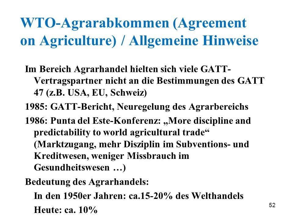 WTO-Agrarabkommen (Agreement on Agriculture) / Allgemeine Hinweise