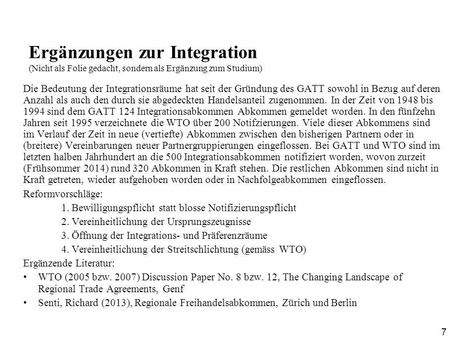 Ergänzungen zur Integration (Nicht als Folie gedacht, sondern als Ergänzung zum Studium)