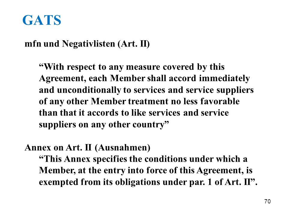 GATS mfn und Negativlisten (Art. II)