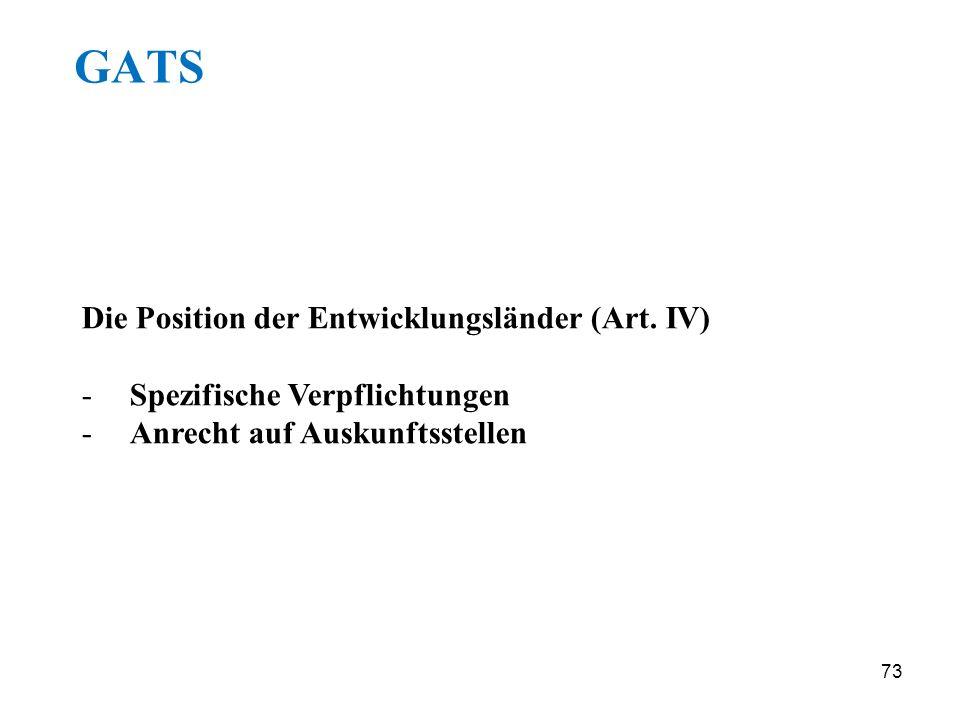 GATS Die Position der Entwicklungsländer (Art. IV)
