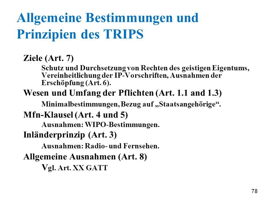 Allgemeine Bestimmungen und Prinzipien des TRIPS