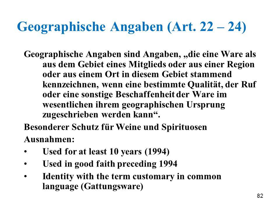 Geographische Angaben (Art. 22 – 24)