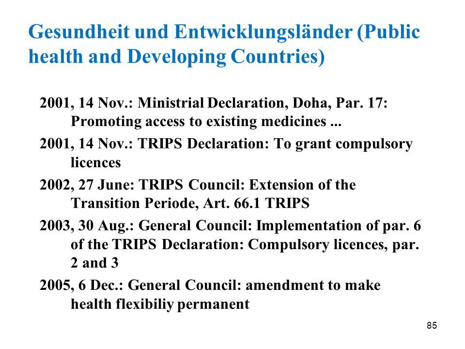 Gesundheit und Entwicklungsländer (Public health and Developing Countries)