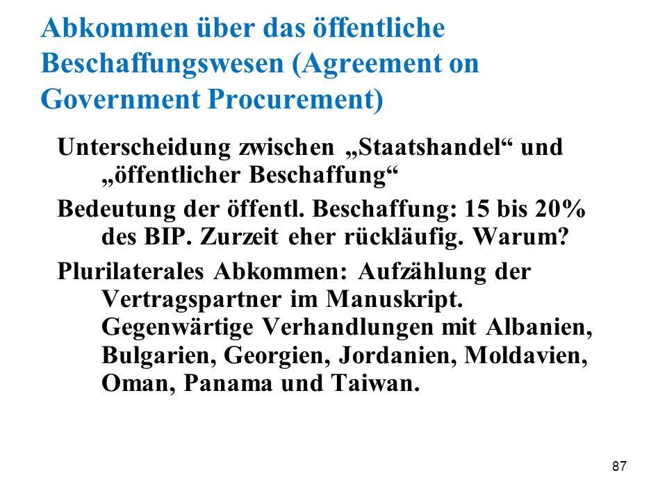 Abkommen über das öffentliche Beschaffungswesen (Agreement on Government Procurement)
