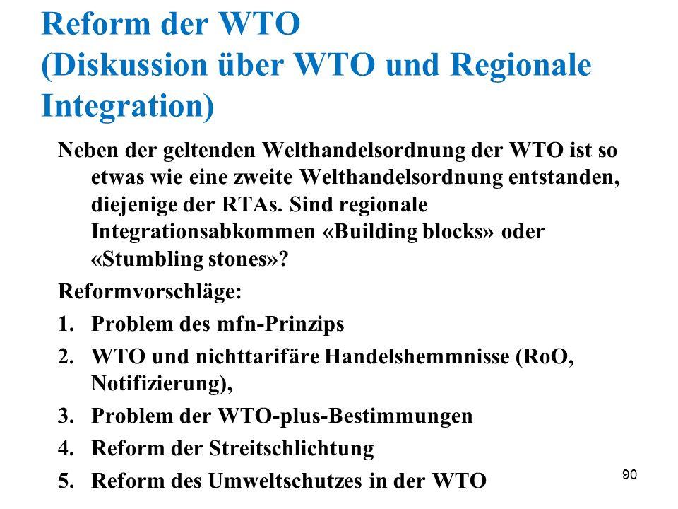 Reform der WTO (Diskussion über WTO und Regionale Integration)