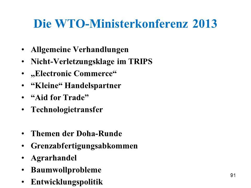 Die WTO-Ministerkonferenz 2013