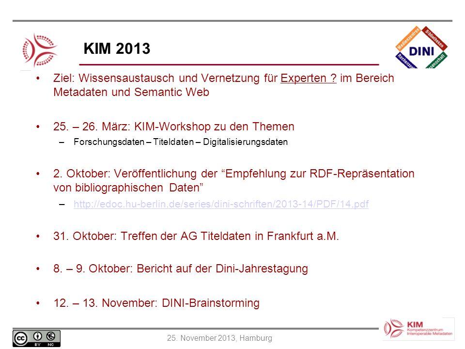 KIM 2013 Ziel: Wissensaustausch und Vernetzung für Experten im Bereich Metadaten und Semantic Web.