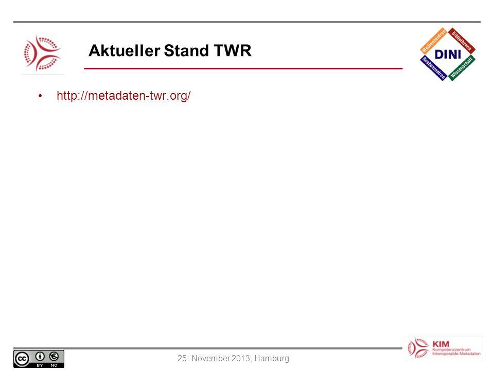 Aktueller Stand TWR http://metadaten-twr.org/